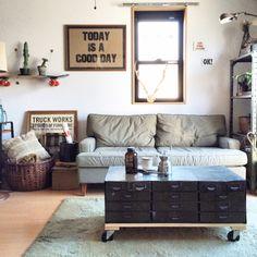 KINUさんの、ミリタリー,インダストリアル,P.F.S,STUSSY Livin'GS,TRUCK,一人暮らし,賃貸,メンズ部屋,リビング,のお部屋写真