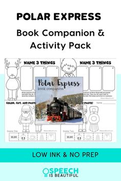 I love this classic holiday book! It's great for literacy-based therapy. This Polar Express book companion and activity pack is great for working on reading comprehension and vocabulary while expanding the students' knowledge base. | Speech is Beautiful