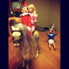 Elf and Barbie on a horse