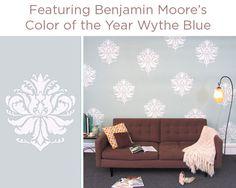 Gabi's brocade stencil featuring Benjamin Moore color of the year    Beautiful #colors #stencil #decor    https://www.cuttingedgestencils.com/wallpaper-damask-stencil.html
