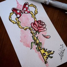 Bildergebnis für Tattoo-Disney-Schlüssel - Tattoo Trends and Lifestyle Art Disney, Disney Kunst, Disney Style, Disney Magic, Cute Disney Drawings, Cute Drawings, Drawing Disney, Disney Castle Drawing, Flower Drawings