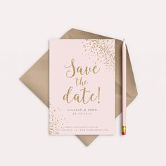 4x6, or 5x7 Inch Wedding Save The Date Gold Confetti Antique Rose Blush Trendy Calligraphy Script Printable Digital File Chic Elegant