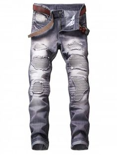Destroyed Biker Jeans with Straight Leg