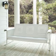 """Crosley Veranda Sofa Glider - Nostalgia may push you to buy a vintage metal glider at an antique store, but before nostalgia puts a rusty, semi-functioning glider on your credit ca...$415- 72""""x31"""" Seat dimensions 59""""x20"""", if you need to add a cushion*"""