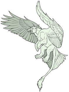 Commission - Gryphon Sketch by SeaSuds on DeviantArt Mythical Creatures Art, Mythological Creatures, Weird Creatures, Fantasy Creatures, Animal Sketches, Animal Drawings, Art Sketches, Fantasy Monster, Monster Art