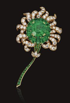 EMERALD AND DIAMOND FLOWER BROOCH, VAN CLEEF & ARPELS, NEW YORK