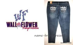 WALLFLOWER NWT Faded SKINNY Jeans Womens PLUS 22 LUSCIOUS CURVY Rhinestones NEW #Wallflower #Skinny