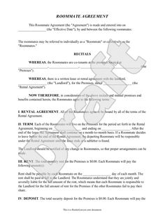 Printable Sample Roommate Agreement Form Form  Apartments
