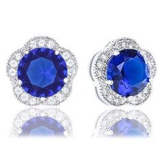 18k White Gold Plated Cubic Zirconia Flower Halo Stud Earrings (2.30 carats) - Blue #earrings#studs#