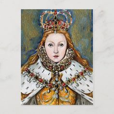 Virgin Queen Postcard Size: ' ' Postcard. Color: gold. Gender: unisex. Age Group: adult. Material: Matte. Tudor History, British History, Queen Poster, Tudor Rose, Wars Of The Roses, Mary Queen Of Scots, Beautiful Posters, Glamour, Dark Ages