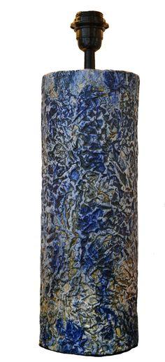 """""""Lampara"""" realizada en gres, decoración con oxido de cobalto y esmalte transparente mate"""
