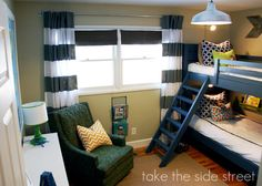 boys room with bunk beds   stripe-curtains-blue-bunk-bed-boys-bedroom-remodelaholic.com