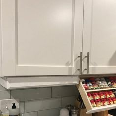Kitchen Cabinets Under Cabinet Spice Rack Refacing Kitchen Cabinets, Cabinet Refacing, Kitchen Cabinet Design, Storage Cabinets, Kitchen Decor, Kitchen Ideas, Cabinet Ideas, Cabinet Makeover, Kitchen Cupboards