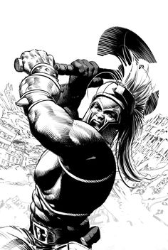Ares in action. B&W by Mike Deodato Jr.
