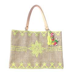"Bolso ""Love Bag Shopping"" de Toscana de estilo étnico en yute, con bordado en hilo, pompón a juego y abalorios."