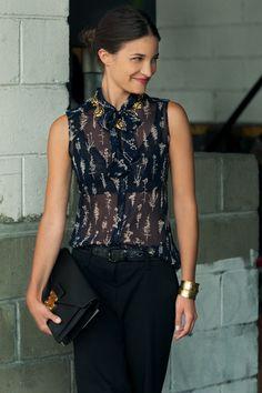 MARIA DUEÑAS JACOBS  Accessories Editor, Glamour Magazine U.S.    -Raoul Top  -Vera Wang Pants  -Lizzie Fortunato Necklace  -DANNIJO Cuff  -Louis Vuitton Clutch