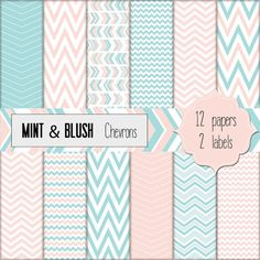 Mint and Blush Chevrons. Digital Scrapbooking paper set. Great for wedding and birthday cards, invitations, announcements, web backgrounds, blogging, digital scrapbooking and cardmaking.