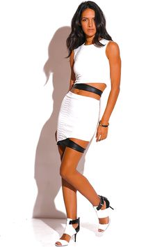WHITE QUILTED FAULT LEATHER TRIM CUT OUT TWO PIECE