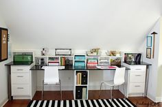 DIY Built In Desk Tutorial-- love the double desks, but I'd add bookshelves up to our ceiling on both sides and bookshelves over the desks