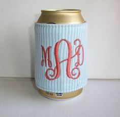 Monogrammed Custom Can holder Pink seersucker by FLHCreations  can huggie / insulating liner foam / patterned fabric / preppy / accessories for office, car, home / co-worker, student, party gifts