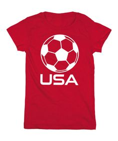 Look what I found on #zulily! Red 'USA' Soccer Fitted Tee - Girls by Sporteez #zulilyfinds