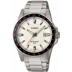 Casio Men's Core Silvertone Quartz Watch with Dial Black Stainless Steel, Stainless Steel Watch, Stainless Steel Bracelet, Online Watch Store, G Shock, Watch Brands, Casio Watch, Quartz Watch, Omega Watch