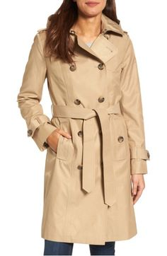 Main Image - London Fog Hooded Double Breasted Long Trench Coat