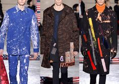 Raf Simons- A/W 2014-Art by Sterling Ruby – Paint Splatters – Collage Mash-up – Over-scaled Imagery – Bleach Splashes – Hand Crafted – Graphic Slogans – Camo