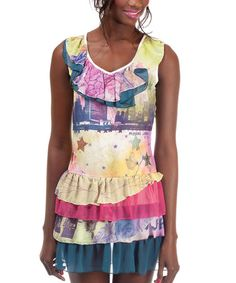 Take a look at this Yellow & Pink Ruffle Carole Dress by Missing Johnny on #zulily today!