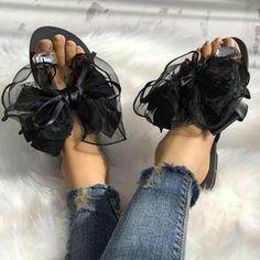 Fashion Cute Big Bow Tie Sandals Non Slip Flat Sandals Oxford Shoes Heels, Women Oxford Shoes, Shoes Women, Women Sandals, Vans Shoes, High Heels, Ladies Shoes, Golf Shoes, Open Toe Flats