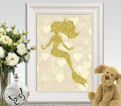 Gold mermaid print Glitter mermaid wall art printable Gold Mermaid silhouette 11x14 5x7 8x10 INSTANT DOWNLOAD Party Mermaid decor Party sign by DorindaArt on Etsy https://www.etsy.com/listing/232779021/gold-mermaid-print-glitter-mermaid-wall