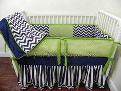 Custom Baby Bedding Set Navy w/  Lime Green
