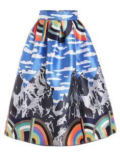 Mountain Print Box Pleated Midi Skirt
