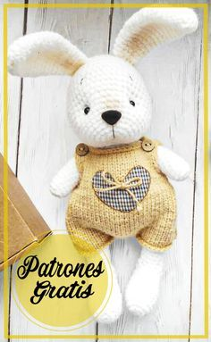 Crochet Teddy, Crochet Bunny, Crochet Animals, Diy Crochet, Crochet Dolls Free Patterns, Crochet Doll Pattern, Amigurumi Patterns, Amigurumi Free, Crochet Stitches For Beginners