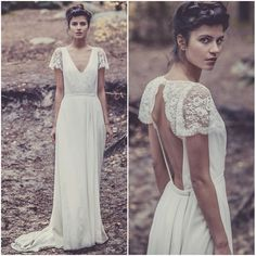 Aliexpress.com : Buy Vintage V neck Lace Wedding Dresses 2014 Long Boho Hippie Cap Sleeves Backless Chiffon Beach Wedding Dress from Reliable dresses chinese suppliers on 27 Dress | Alibaba Group