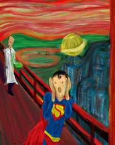Scream Painting Parody the scream of superman Scream Parody, Scream Art, Le Cri Munch, Superman Love, Copic Drawings, Wildest Fantasy, Cardboard Sculpture, Expressionist Artists, Trash Art