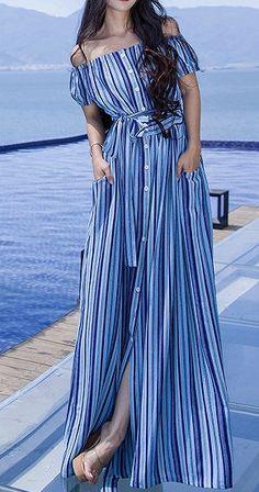 66c625eed6c24 Blue Stripe Off Shoulder Button Up Tie Waist Maxi Beach Dress Vestido  Elegante