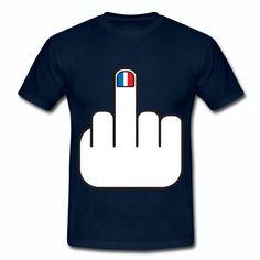 T-shirt Bleu Marine France Humour bleu blanc rouge French Manucure drapeau Français