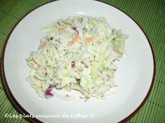 Les plats cuisinés de Esther B: Salade de chou crémeuse Esther, Sauce Crémeuse, Cold Food, Cold Meals, Cabbage, Vegetables, Collard Greens, Salads, Kitchens