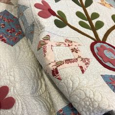 Callington Mill - wool appliqué on a cotton background using Leonie's fabric line of the same name