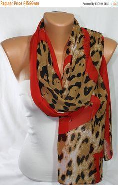SUMMER SALE Silky Chiffon Scarf Red Scarf Leopard by escherpe