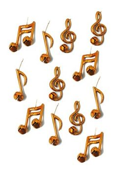 Gold Metal Note Bell Ornaments - 12-Piece Set