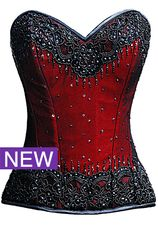 Burlesque Glimmer Red Beaded Corset