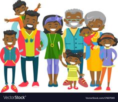 Happy extended african-american family vector image on VectorStock Family Vector, Young Parents, Big Family, Grandparents, Adobe Illustrator, Vector Free, African, Pdf, Smile