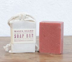"""Handmade Soap Packaging Idea - """"Wrap"""" in a Cotton Muslin bag and Either Hand Stamp or Add a Cigar Band Label"""