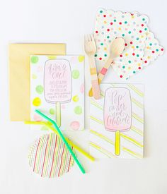 Calligraphy and Watercolor Popsicle First Birthday Party Invitations: http://ohsobeautifulpaper.com/2015/02/watercolor-popsicle-birthday-party-invitations/ | Design + Calligraphy + Photo: Maison Everett
