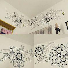 Trabalho artístico na parede Desenho com Posca