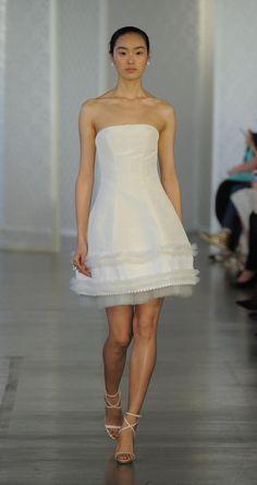 Short and strapless wedding dress   Oscar de la Renta Spring 2017   https://www.theknot.com/content/oscar-de-la-renta-wedding-dresses-bridal-fashion-week-spring-2017