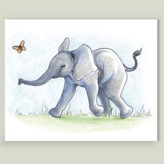 Playful Elephant Art Print by gretelscorner on @boomboomprints