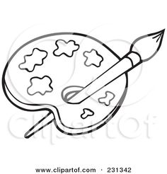 Royalty Free RF Clipart Illustration Of A Coloring Page Outline Paint Palette By Visekart 231342